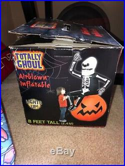 Totally Ghoul Airblown Inflatable Skeleton Man On Pumpkin 8 Ft Gemmy Rare