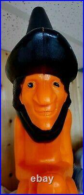 VTG Blow Mold Witch Pumpkin on Broom Light 20 Halloween Don Featherstone