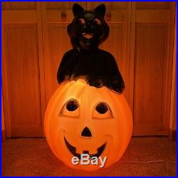 VTG Halloween Blow Mold Black Cat Pumpkin Carolina Empire Plastic 34 Lighted