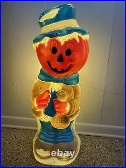 VTG Large HALLOWEEN BLOW MOLD PUMPKIN SCARECROW Jack O Lantern Light Up Decor