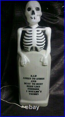 VTG SKELETON on TOMBSTONE BLOW MOLD RIP Halloween EMPIRE 35