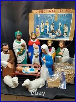 Vintage 1967 Empire Blow Mold Nativity 10 Piece Christmas Display Set 16 22