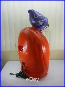 Vintage Buzzard Vulture Wizard Pumpkin Halloween Lighted Blow Mold Decor 27 TPI