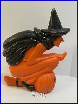 Vintage Don Featherstone Witch Broom Jack O Lantern Blowmold Union