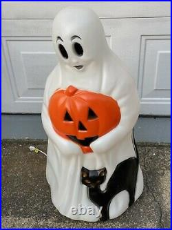 Vintage Empire Halloween 34 Lighted Blow Mold Ghost with Black Cat Jack O Lantern