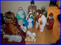 Vintage General Foam Plastic Blow Mold Large Nativity Christmas Yard Display