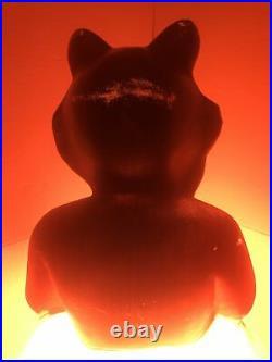 Vintage Halloween Black Cat on Pumpkin Blow Mold Carolina Enterprises