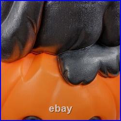 Vintage Halloween Blow Mold Black Cat on Pumpkin Carolina Enterprises 1993 EUC