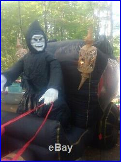 Vintage Halloween Inflatable Horse Carriage With Reaper Gemmy Blow Up Huge 12