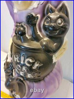 Vintage Halloween Porch Witch 34x16 Blow Mold Bat Cat Cauldron Pre Owned