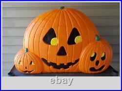 Vintage Halloween Trio Of Pumpkins Jack-O-Lantern Blow Mold Don Featherstone HTF