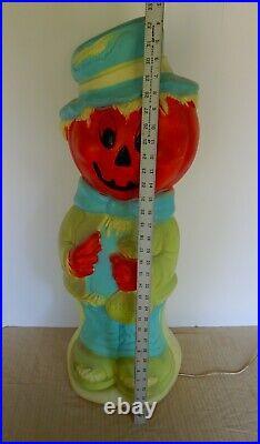 Vintage Halloween pumpkin scarecrow jack-O-lantern blow mold 33 inches