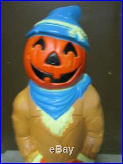 Vintage Plastic Halloween Pumpkin Scare Crow Blow Mold Yard Decoration