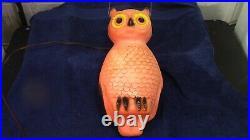 Vintage Union Halloween Lighted Blow Mold Owl 13 1/2