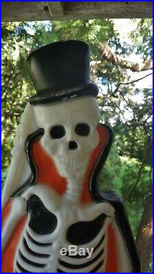 Vintage Union Products Lighted Blow Mold 37 Skeleton Top Hat & Tombstone 1997