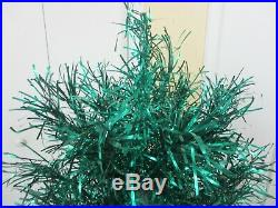 Vtg 5+ Foot Green Aluminum Metal Tinsel Christmas Tree with Rotating Musical Stand