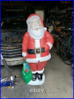 Vtg 5 Foot Santa Claus General Foam Plastic Blow Mold Light Up Yard Decoration