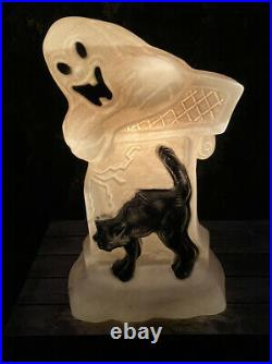 Vtg Drainage Industries Halloween Blow Mold Lighted Grave Stone Boo Ghost Cat