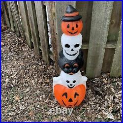 Vtg Empire 32 Halloween Lighted Totem Pole Blow Mold, Cat/Ghost/Skull/Pumpkin