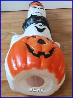 Vtg Empire Lighted Halloween Totem Pumpkin Skull Ghost Cat Blow Mold 32 B