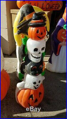 Vtg Halloween Blow mold lot of 9 large witch Ghost. Free ship with buy it now